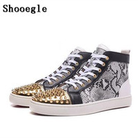 SHOOEGLE High Quality Snakeskin Patchwork Rivets Men Shoes Studs Lace up Sneakers Men Hightop Flat Casual Shoes Man EU39 47