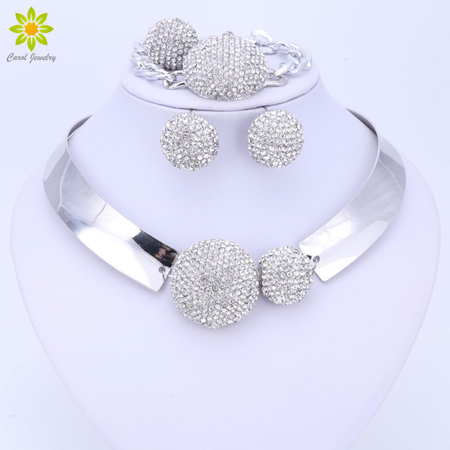 African Silver Color Nigerian Wedding African Beads Jewelry Set Crystal Jewelry