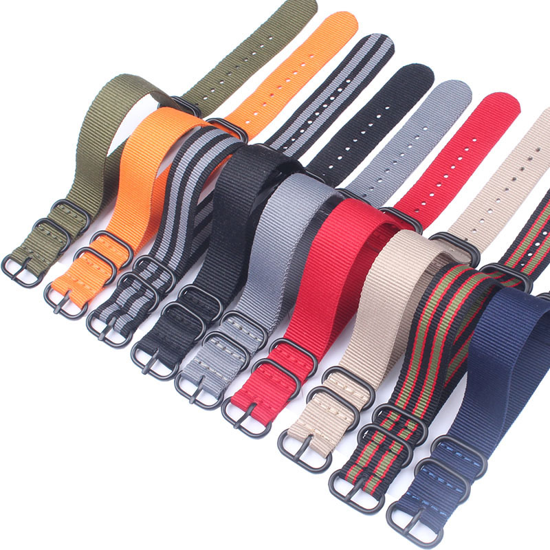 10pcs Wholesale Zulu <font><b>PVD</b></font> black Buckle 20mm 22mm 24mm Watchbands Men Women Casual <font><b>Watches</b></font> <font><b>Strap</b></font> Wristwatch Band Buckle zulu image