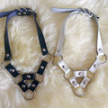 Girl Women 100% Handcrafted Punk Gothic Fetish Cosplay Triangle Choker Halter Leather Collar Necklace