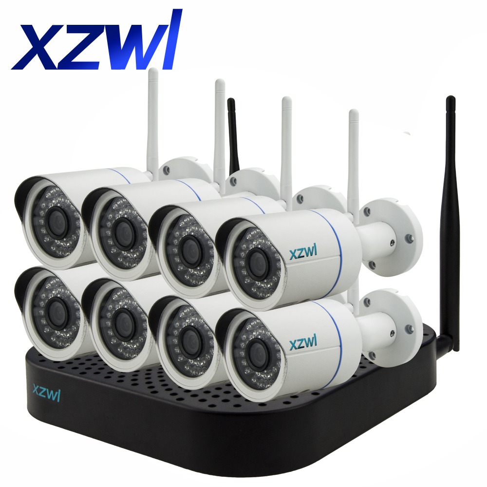 Plug and Play 8CH NVR Wireless Closed Circuit TV System 720P HD H.264 Mini Home Security Video WIFI Network Camera Monitor Kit