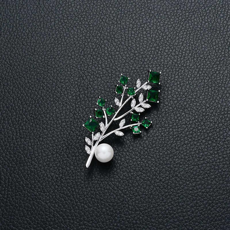 ヴィンテージジュエリー支店葉ブローチファッションデザイン美しいパールグリーンクリスタルブローチ友人のため