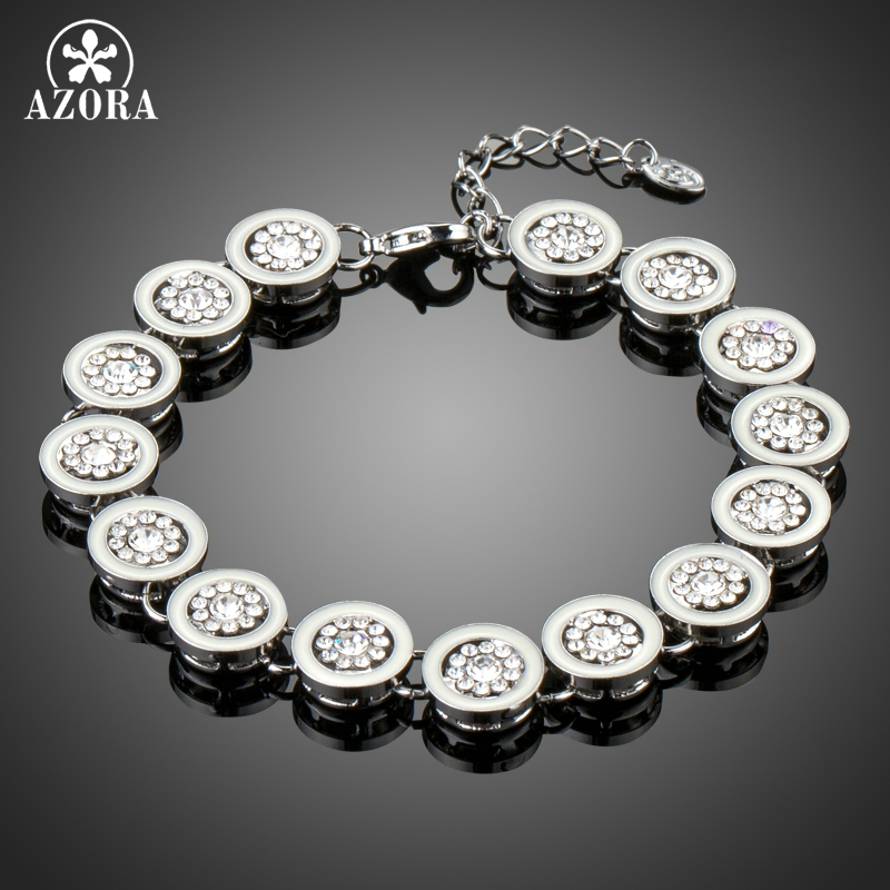 AZORA Delicate Workmanship Round Loop Full Filled with Tiny Clear Austria Rhinestone White Gold Color Bracelet