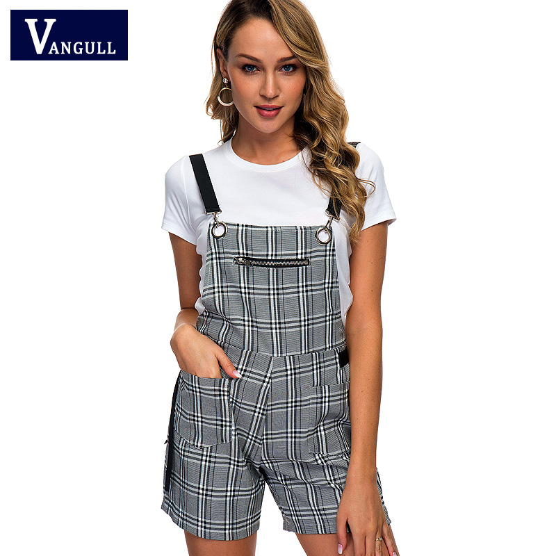 Vangull New Plaid Strap Shorts Women Romper Casual Jumpsuit Shorts 2019 Summer Backless Overalls Lady Plaid Playsuit Streetwear