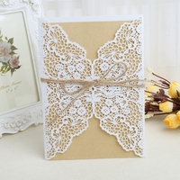 10pcs Sample Hollow Laser Cut Wedding Invitations Card Personalized Custom With Ribbon Envelope Delicate Carved Pattern