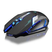 Binmer-ratón inalámbrico recargable X7, silencioso, retroiluminado con LED, óptico, USB, para ordenador portátil, 18AUG9, gran oferta
