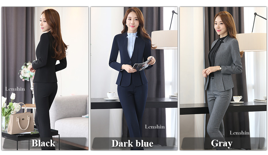 2 piece Gray Pant Suits Formal Ladies Office OL Uniform Designs Elegant Business Work Wear Jacket with Trousers Sets 10