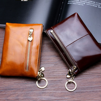 Genuine Leather Women Mini Wallet Oil Wax Leather Coin Purse Coin Credit Card Holder With Metal Ring 8 Color Double Zipper