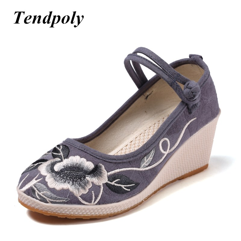 new retro national style spring autumn high-heeled with embroidered old Beijing cloth shoes selling casual Women's singles shoes vintage pumps spring autumn old beijing embroidery cloth shoes fairy girl embroidered national han chinese women s shoes