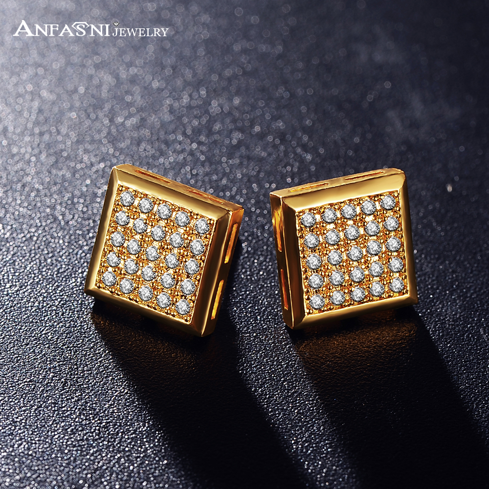 Anfasni New Costume Earrings Gold Color Micro Inlay Aaa Cubic Zirconia  Earrings Stud Costume Jewelry Cer0107