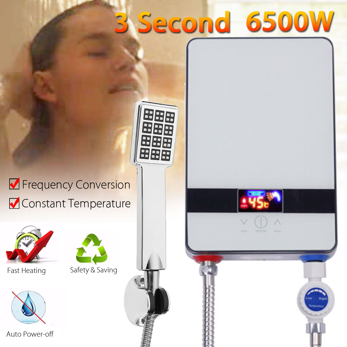 Warmtoo New 220V Tankless Electric Shower Instant Kitchen Bathroom Hot Water Heater Set Electric Water Heating Shower 6500W