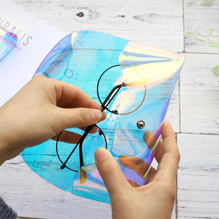 Das Mulheres Dos Homens de moda Venda Quente PVC Caixa de Óculos de Caso Óculos Portáteis Iridescente Laser Dobre-capaz Para Óculos óculos de Sol