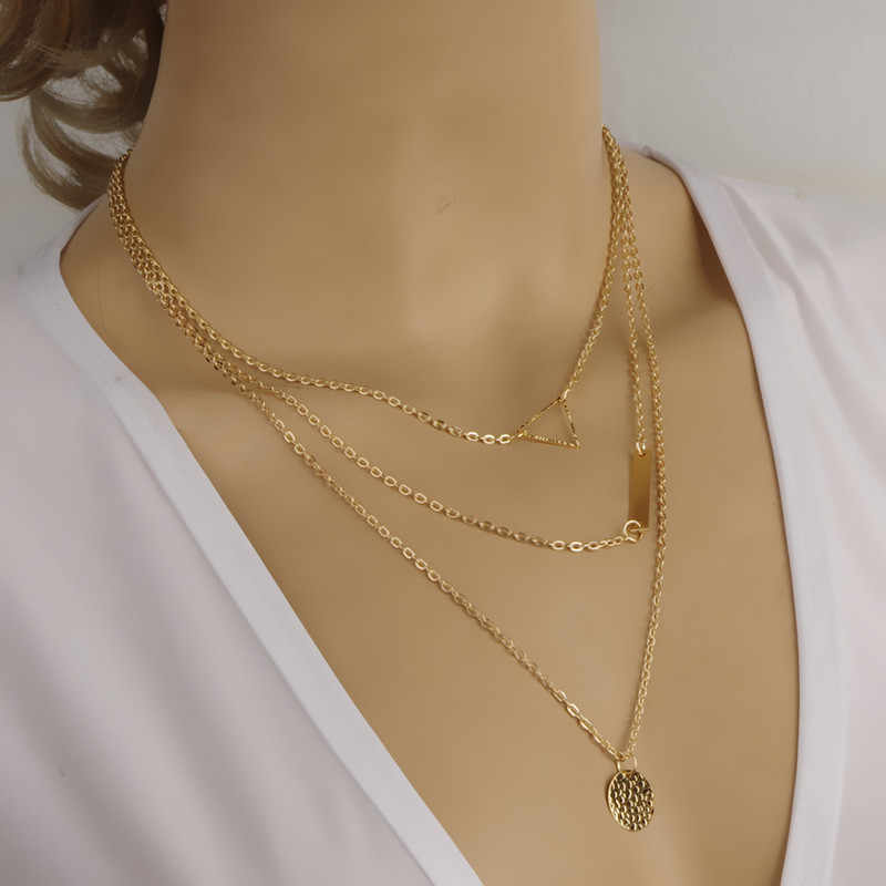 hot 2019 New Women Fashion Gold Color 3 Layers Chain Necklace Hollow Out Triangle Long Pendant Necklaces Jewelry Free shipping