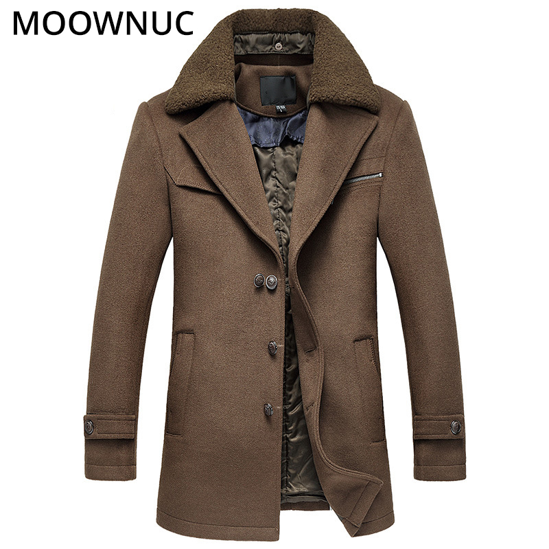 Male New 2019 Thick Woollen Business Casual Men's Coat Autumn Winter Overcoat Fashion Blends Brand Clothing MOOWNUC Splicing