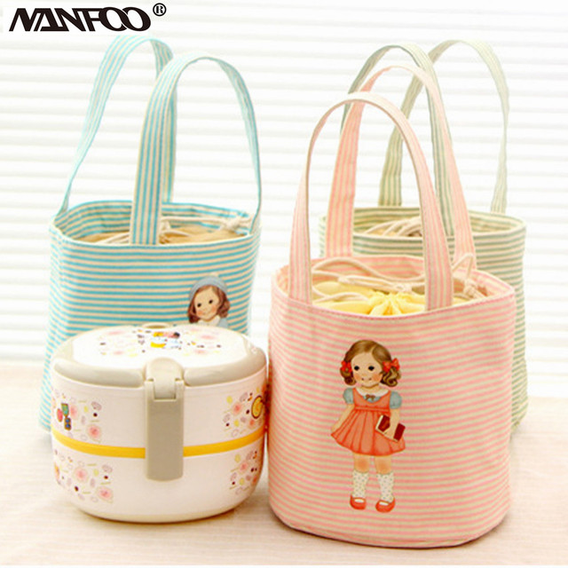 4 Colors Available New Sweety Cute Insulated Lunch Bag Cooler Travel Camping Doil Carton Canvas Lunch Box Portable Picnic Bag