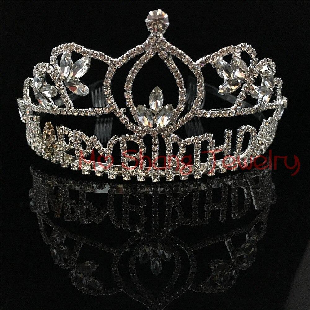 Happy Birthday Tiara Crown White Rhinestone Silver Plated