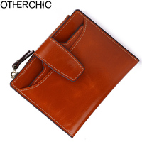 OTHERCHIC Fashion Genuine Real Leather Women Short Wallets Small Wallet Coin Pocket Card Holder Female Purses Money Bag 05 18
