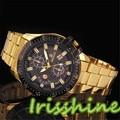 Irisshine A114 Unisex couple Watches Boy  Luxury women Men Black Dial Gold Stainless Steel Date Quartz Analog Sport Wrist Watch