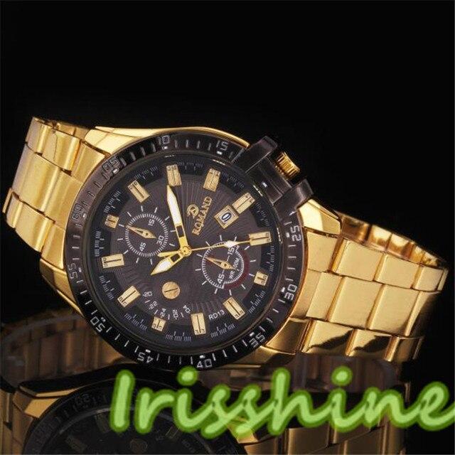 Irisshine A114 Unisex couple Watches Boy Luxury women Men Black Dial Gold Stainl