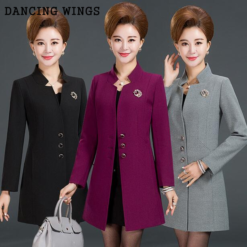 Plus Size L-5XL Fashion Middle Aged Women   Trench   Coat Temperament Slim Medium Long Overcoat Women