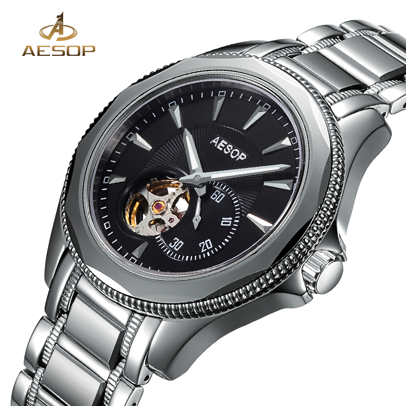 AESOP Watch Men Automatic Mechanical Wristwatch Stainless Steel Famous Brand Male Clock Hollow Skeleton Relogio Masculino Top 27 aesop brand fashion watch men automatic mechanical wristwatch hollow waterproof tungsten steel male clock relogio masculino 46