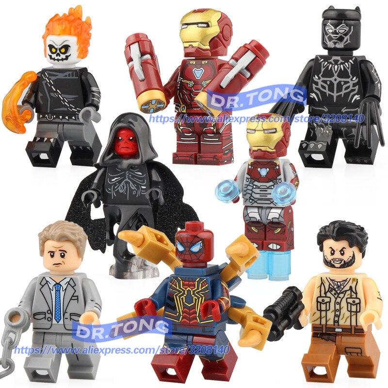 Model Building Building Blocks Bricks Legoing Marvel Red Skull Iron Man Chost Rider Super Heroes Ulysses Klaw Action Figures Toys Xh977