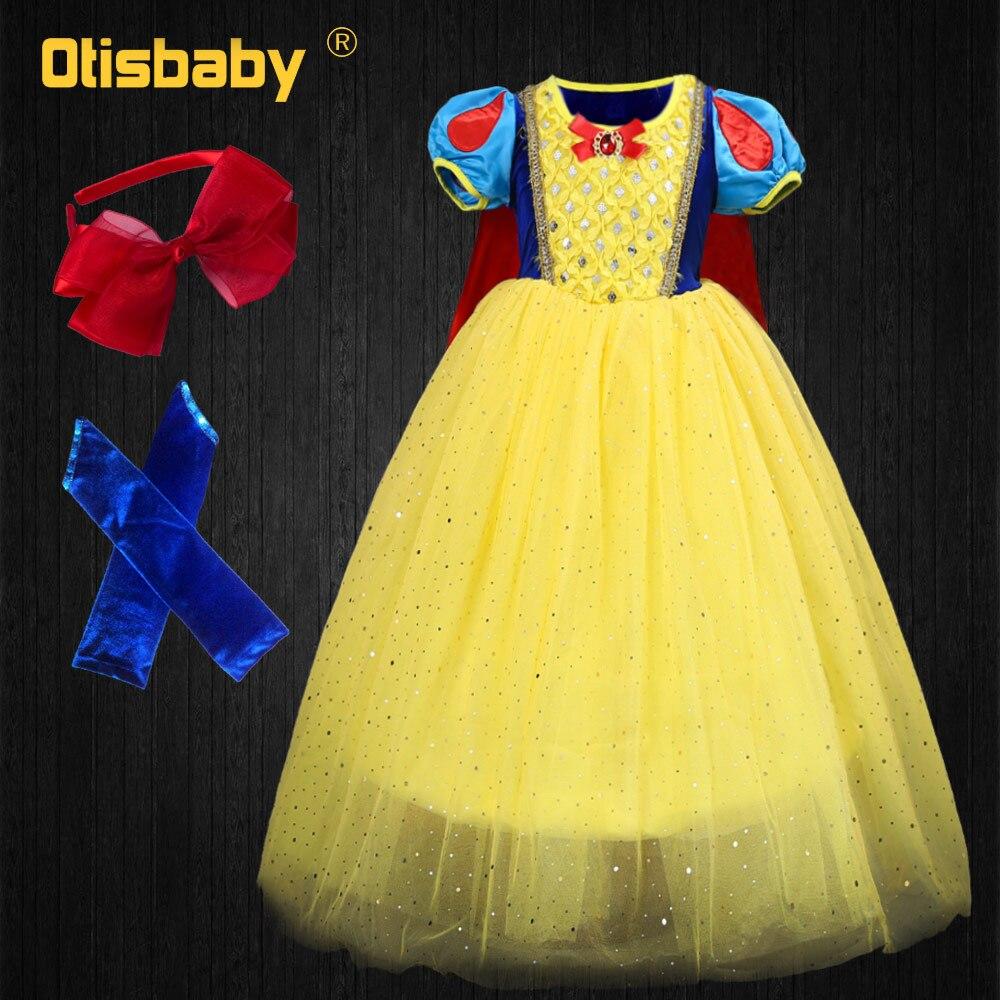 596bef7d4e0 Осень 2019 Рождество обувь для девочек принцесса Белоснежка платье Дети  Желтый церемонии Bebe платья Fantasia Infantil