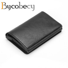 BYCOBECY Automatic Pop Up Card Case Holder for Men Women RFID Aluminium Alloy Credit PU Leather Wallet
