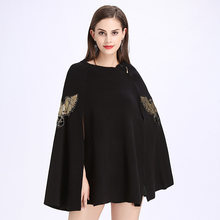 ZDFURS* Autumn Winter Fashion Ponchos And Capes Eagle Embroidery Zipper Cloak Pullovers Cloak Knitted Wool Sweater Women Coat(China)