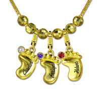 AILIN Personalized Engraved Name Baby Feet Pendant Necklace 3D Gold Color Mother Necklace Fashion Jewelry