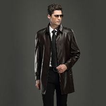 2014  Autumn winter new middle-aged men brand long  leather coat Korean version leather clothing casual jacket / M-3XL