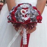 אדום ואפור זרי חתונה מלאכותיים עבודת יד פרח גביש שושבין יהלומים מלאכותיים כלה חתונה זר פרחים de mariage