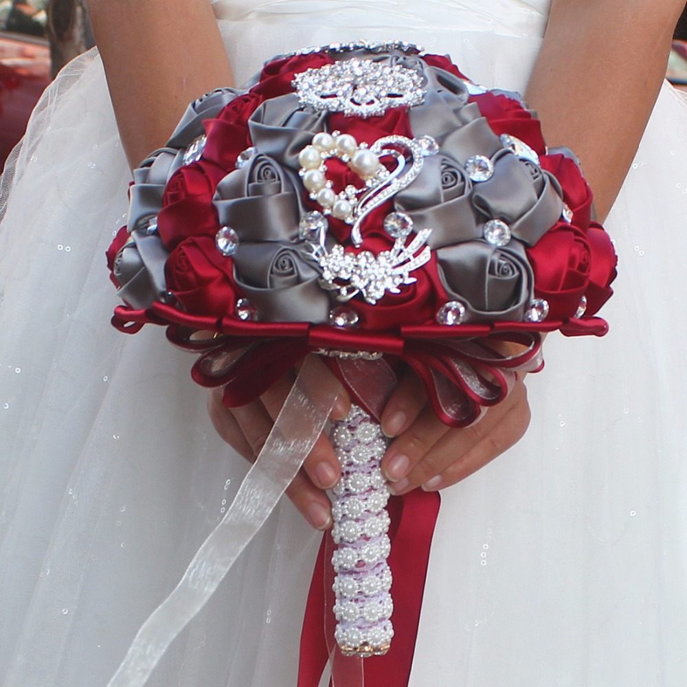 Artificial Red And Grey Wedding Bouquets Hand Made Flower