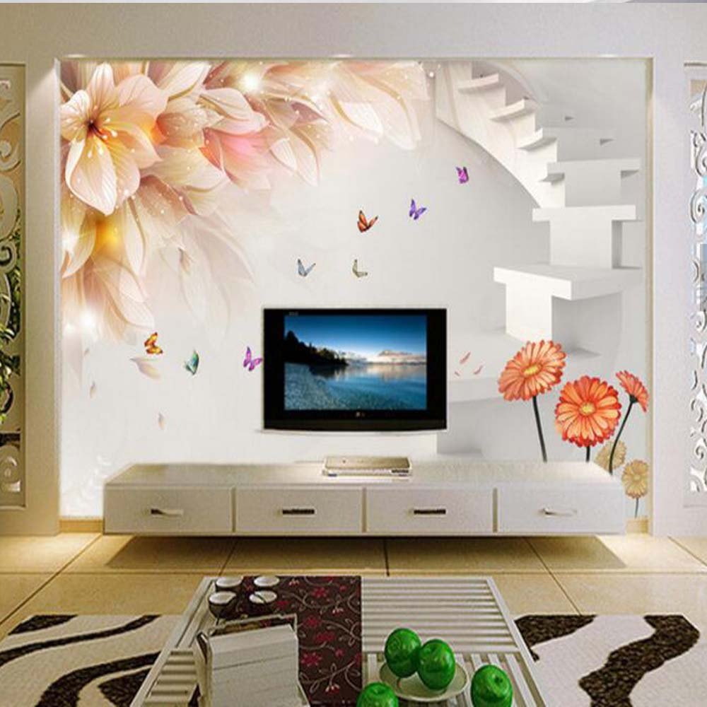 3d photo wallpaper butterfly lily mural wallpapers for - Murales de pared 3d ...