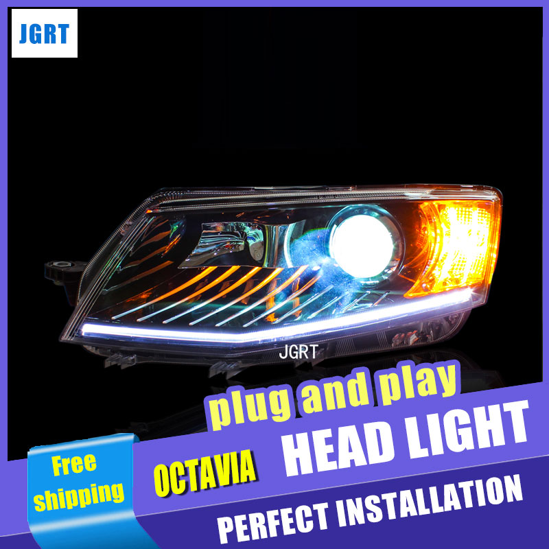 Car Styling for Skoda Octavia Headlight assembly 2015 New LED Headlight DRL Lens Double Beam H7 with hid kit 2pcs. hireno headlamp for volkswagen tiguan 2017 headlight headlight assembly led drl angel lens double beam hid xenon 2pcs