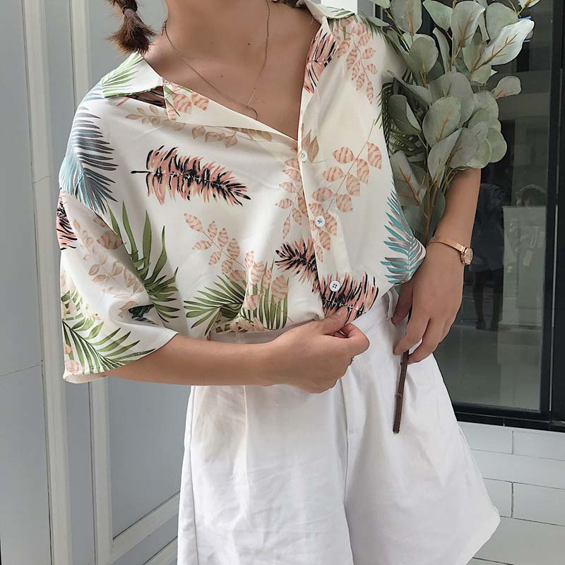 2019 Summer Women Short Sleeve Casual Tops Printed Top   Blouses     Shirts   Fashion Loose Beach   Shirt