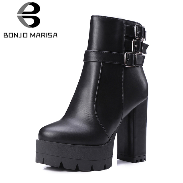 cf4bfd84e1a BONJOMARISA women s Old Style Brown Platform Boots Women Big Size 34-42  High Wide Heels Boots Fashion Mature Shoes Woman