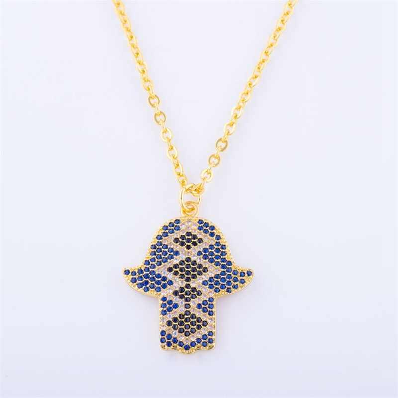 Colier femme 2017 Nuovo designer di gioielli hamsa buona fortuna collana di alta qualità di rame con variopinti della pietra di zircon pendente della mano di hamsa