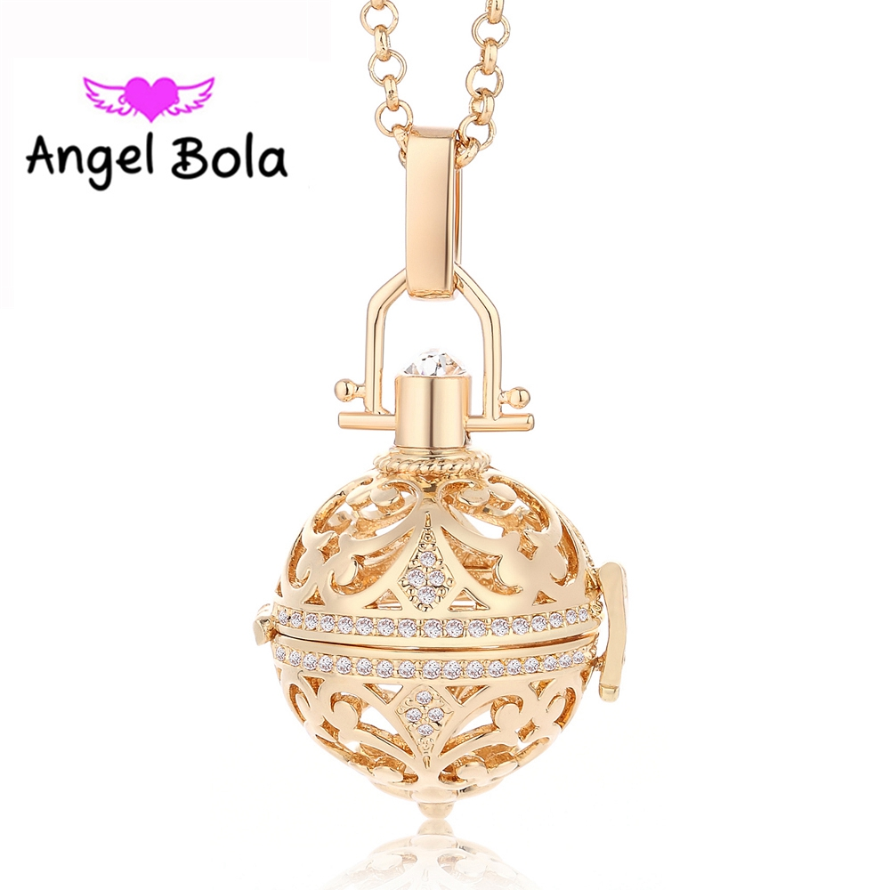 Angel Bola Crystal Hollow Perfume Essential Oil Pendant Women DIY Aromatherapy Pendants Stainless Steel Necklace Jewelry L048