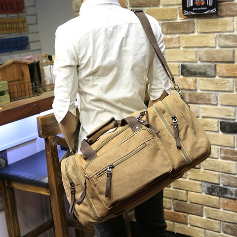 Xiao.p Vintage military Canvas men travel bags Carry on Luggage bags Men Duffel bags travel tote large weekend Bag Overnight Karachi