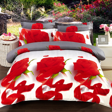 Home Textiles,Red flowers pattern 3D bedding sets 4Pcs of duvet cover bed sheet pillowcase Queen Full size bedclothes