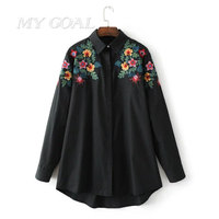 Spring Floral Embroidered Blouses Woman Fashion Shirt Ladies Office Work Dresses Ethnic Flower Shirt Black White