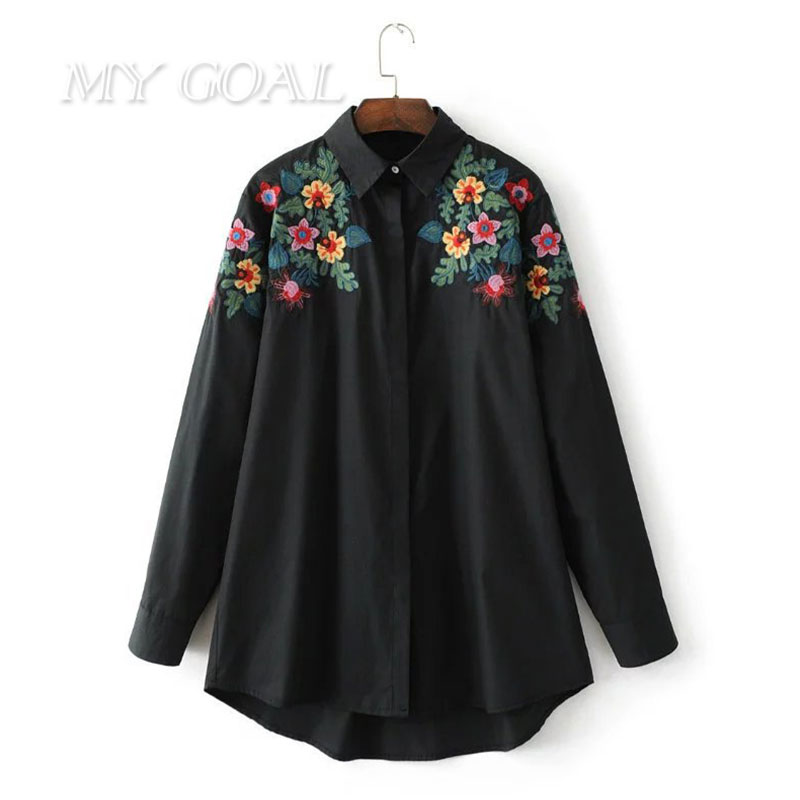 Spring floral embroidered blouses woman fashion shirt for Ladies shirts and tops blouses