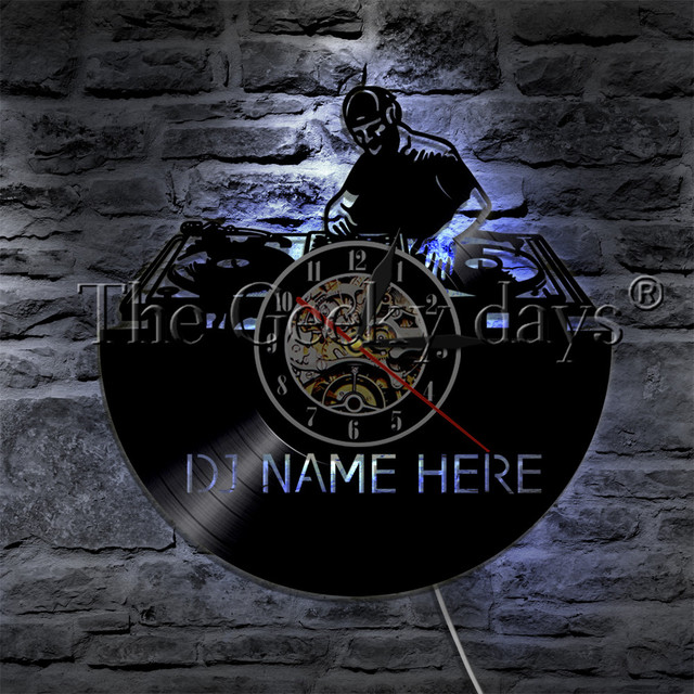 1Piece DJ Name Here Vinyl Record Wall Clock Customize Name Club Party Music LED Night Light Table Lamp Rock N Roll For DJ Gift