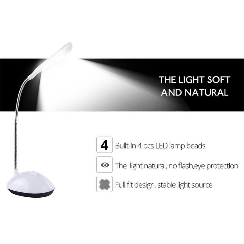 4 светодиодный s мини-стол лампа для высокого освещения Мерцающая настольная лампа Защита глаз Гибкая Настольная лампа с питанием от аккумулятора ночник