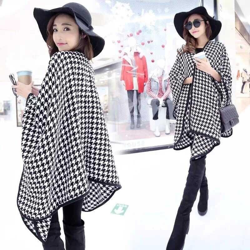 Обтекаемое одеяло, Кашемировое многоцелевое комбинированное пальто, женская шаль, звездное шоу, пальто большого размера, пончо, шарф, накидка JQ26 - Цвет: Темно-серый