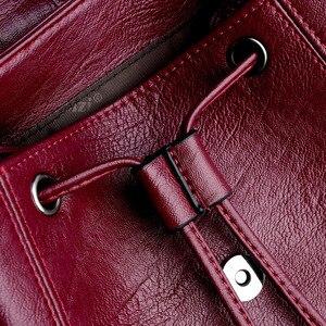 Image 4 - Moda yüksek kaliteli yumuşak deri kadın sırt çantası büyük kapasiteli okul çantası kız için marka omuzdan askili çanta bayan çantası seyahat sırt çantası