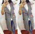 2016 НОВЫЕ Русские Женщины Длинные Жилет моды Трикотажные Жилет Без Рукавов Куртки