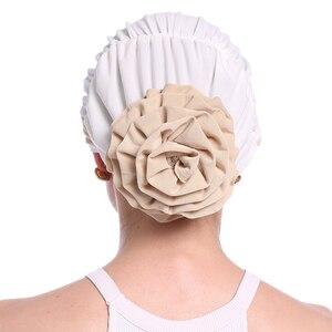 Image 5 - Haimeikang Herfst Winter Vrouwen Gevouwen Tulband Chemo Cap Haarbanden voor Vrouwen Moslim Bloem Headwrap Hoofdbanden Haar Accessoires