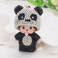 2016 Cute Inlay Crystal Rhinestone Panda Hat Monchichi Dolls keychain Metal key rings porte clef Woman bag